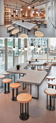 This modern cafe features a a snake-like, concrete shared table along the facade. : This modern cafe features a a snake-like, concrete shared table along the facade. Cafe Restaurant, Restaurant Amsterdam, Amsterdam Cafe, Restaurant Interior Design, Modern Interior Design, Modern Decor, Bakery Interior, Table Cafe, Cafe Bar