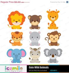 40% OFF Cute Wild Animals Digital Clipart