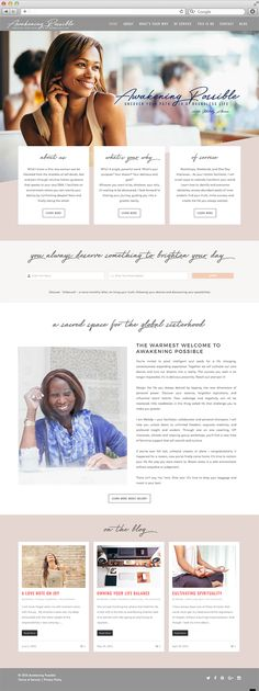 Home Page for Awakening Possible Website Design by Julie Harris Design