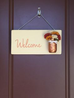 DIY Craft Kit - Welcome Sign with Mason Jar Vase  Create your own - Welcome Mason Jar Sign Flowers - Welcome Sign - Front Door Decor - Fall