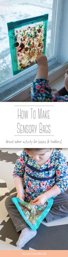 You can make sensory bags with only a ziploc bag, sturdy tape, and hair gel! Add small items like toys and beads and let your child play with no mess!