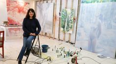 Sydney artist Fiona Lowry, pictured in her studio, won the Archibald Prize for her air brushed portrait of Penelope Seidler. She's one of the artists you can buy at the upcoming Sydney Contemporary art show.