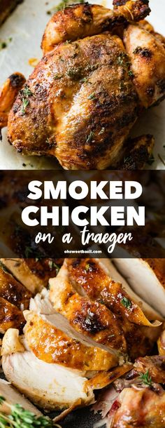 Smoked Whole Chicken Recipe (Traeger Whole Chicken) - Oh Sweet Basil Grilled Whole Chicken, Smoked Whole Chicken, Stuffed Whole Chicken, Traeger Chicken, Smoked Chicken Recipes, Sausage Recipes, Beef Recipes, Recipies
