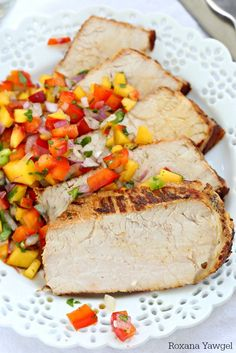 Grilled garlic and herb pork loin with peach salsa recipe - Grilled garlic and herb pork loin with peach salsa is an effortless dinner meal for all those busy weeknights. With only 10 minutes of prep time, you'll be making this over and over again! Grilling Recipes, Pork Recipes, Real Food Recipes, Cooking Recipes, Pastry Recipes, Sausage Recipes, Recipies, Grilled Pork Loin, Pork Ham