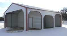 American Steel Carport, A Frame Vertical Roof with Horizontal Sides and End, 3' side entrances, (2) windows, (1) walk-in door, available from Mel Jenkins Building Materials, Inc., Pittsburg, Missouri, 417-770-3765