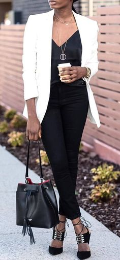 trendy white and black outfit