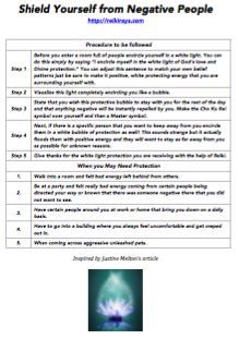 Reiki ~ How to Shield Yourself from Negative People – Reiki Rays Article & Cheat Sheet.