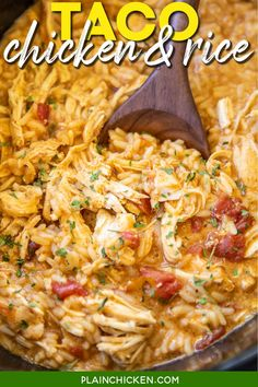Slow Cooker Taco Chicken and Rice – only 5 ingredients! SO simple and SO delicious! Kids (and adults) gobble this up! Chicken, taco seasoning, Rotel diced tomatoes and green chiles, cream of chicken soup, and Mexican rice. Top the chicken and rice with your favorite taco toppings. We make this at least once a month. So easy and SO delicious!  #slowcooker #crockpot #chicken #chickenandrice #mexican #taco Mexican Chicken And Rice, Slow Cooker Mexican Chicken, Taco Chicken, Chicken Rice, Chicken Skillet Recipes, Cooking Chicken To Shred, How To Cook Chicken, Skillet Meals, Slow Cooker Tacos
