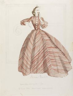 Design drawing for an informal evening dress with red and white stripes for H.R.H. The Princess Margaret, by Norman Hartnell, c. 1949. Victoria and Albert Museum, London. [See this board for a photo of the actual gown, which is now in the collection of the Fashion Museum Bath.]