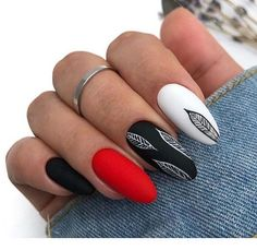 elegant black almond nail art designs - Black nails can suit just about every outfit and occasion that it is paired with. Today in this pos - Almond Nails Designs, Black Nail Designs, Cool Nail Designs, Latest Nail Designs, Black Almond Nails, Almond Nail Art, Red Black Nails, Black Manicure, Cute Acrylic Nails