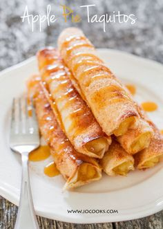 Apple Pie Taquitos: Apple pie taquitos are proof that dreams really do come true. Even better, you only need 15 minutes to make these little pieces of heaven.This fast, easy and creative spin on apple pie is a great fall or Thanksgiving dessert recipe. Find more quick, easy, creative and delicious recipes that put a spin on Thanksgiving apple pie here.