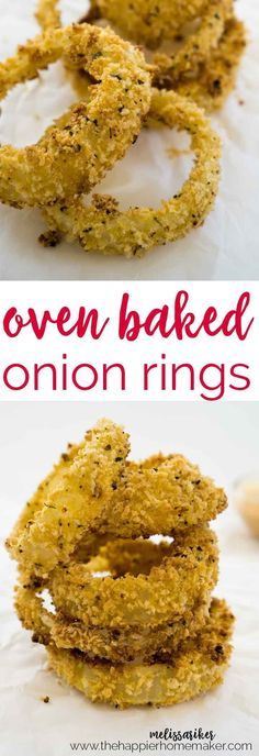 No more frying onion rings, these crispy baked onion rings are much healthier and super easy to make!