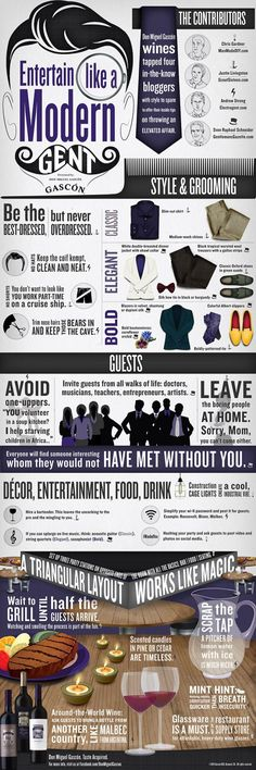 How to Entertain Like a Modern Gentleman [Infographic] The inside needs to match the outside - manners and etiquette are what make you a gentleman. Without manners you're just a well dressed douche bag. Der Gentleman, Gentleman Rules, Gentleman Style, Being A Gentleman, Gentlemans Club, Style Fitness, Gentlemens Guide, Etiquette And Manners, Men Styles