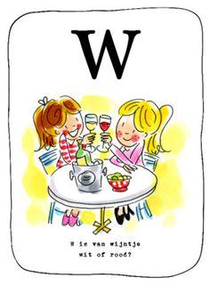 Alfabetkaart, W is van wijn- Greetz