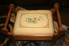 Colonial Footstool//Needlepoint Footstool//Handled Footstool//Vintage Needlepoint Footstool by TresorsJeAmour on Etsy https://www.etsy.com/listing/269681381/colonial-footstoolneedlepoint
