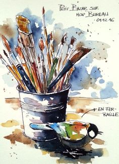 Croquis,carnets de voyage et aquarelle, Stage de croquis en ligne, Sketching, travel journals and watercolor, online workshop