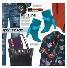 """Rock the Vote in Style"" by anna-anica ❤ liked on Polyvore featuring moussy, Hermès, Parker, Love Moschino, Gucci, Burberry, Derek Lam, Pollini and Lancôme"