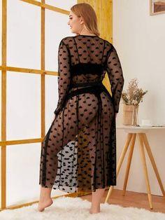Plus Heart Print Sheer Mesh Dress Curvy Girl Lingerie, Pretty Lingerie, Plus Size Lingerie, Beautiful Lingerie, Beautiful Arab Women, Most Beautiful Indian Actress, Fat Girl Fashion, Curvy Women Fashion, Curvy Girl Outfits