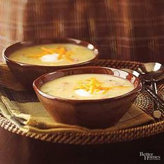 This cheesy potato and bacon soup recipe can warm even the chilliest winter day. Add ham or beans for a tasty variation.