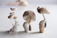 three white mushrooms textiel sculptures von mysouldesign auf Etsy
