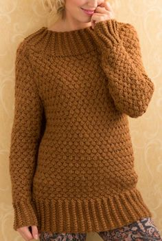 Free Knitting Pattern for Aran Basket Stitch Sweater - This pullover tunic features a repeat twisted rib trim and one of my favorite stitches, the repeat basket stitch cable. Designed by Heather Lodinsky for Red Heart. Circular Knitting Needles, Loom Knitting, Free Knitting, Sweater Knitting Patterns, Knit Patterns, Knitting Sweaters, Knit Picks, Knit Crochet, Free Crochet