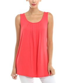 Another great find on #zulily! Coral Pleated Tank #zulilyfinds