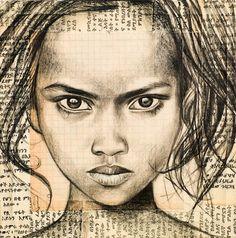 Drawing Portraits - Stéphanie Ledoux - Fillette Borana 2 (Kenya) - Discover The Secrets Of Drawing Realistic Pencil Portraits.Let Me Show You How You Too Can Draw Realistic Pencil Portraits With My Truly Step-by-Step Guide. Portrait Au Crayon, L'art Du Portrait, Pencil Portrait, Drawing Sketches, Pencil Drawings, My Drawings, Drawing Faces, Painting People, Drawing People
