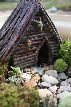 Making a gnome home...I like the stick roof. It will live outside...i wonder if a glue gun glue works in wet weather and the such?