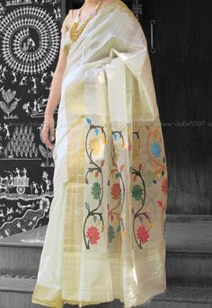 Stunning Dupion Silk Saree with Woven Zari borders | India1001.com