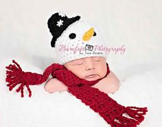 Snow Man hat with scarf by KnitTillDeath on Etsy, $30.00