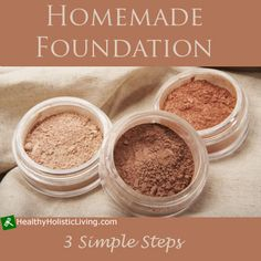 Homemade Foundation: Start with a base of arrowroot powder (1 tsp. for dark skin - 1 Tbs. for light skin); add in one or combination of cocoa powder, cinnamon, or nutmeg until you reach your desired tone, brush on. For liquid foundation:Use same powder recipe but add a few drops of olive, jojoba, or sweet almond oil. Mix