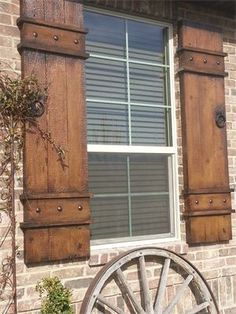 Naples shutter : Built out of Fiber Cement material-shown in Provincial color. Naples shutter : Built out of Fiber Cement material-shown in Provincial color. Outdoor Shutters, Cedar Shutters, Farmhouse Shutters, Rustic Shutters, Diy Shutters, Window Shutters Exterior, Country Shutters, Outside Window Shutters, Primitive Shutters