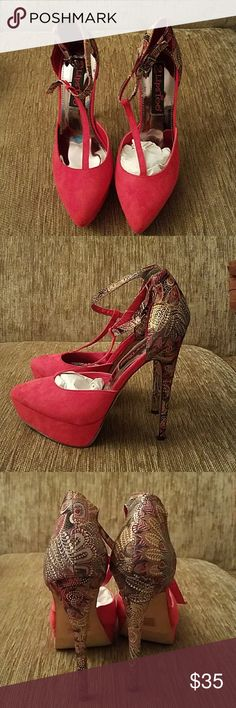 2 Lips Too Red and Paisley Print Heels, Size 8.5 Never worn, brand new, beautiful red and stunning gold, gray and red paisley print heels. What a statement shoe! Heels are about 5 1/2 inches with a platform sole. 2 Lips Too Shoes Heels