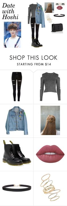 """""""Date with Hoshi"""" by spicy-noodle ❤ liked on Polyvore featuring River Island, Topshop, High Heels Suicide, Erin Considine, Dr. Martens, Lime Crime, Humble Chic, BP., Yves Saint Laurent and kpop"""