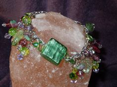 Summer Dangle Bracelet Green and Plum by laminartz on Etsy, $24.00