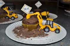Construction birthday party - chocolate cupcakes with crushed chocolate graham crackers for dirt