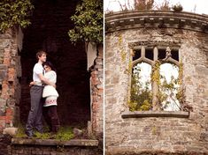 engagement photos at an old castle
