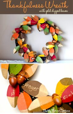 Everyone writes what they are thankful for on the leaves and then pins them to the wreath!