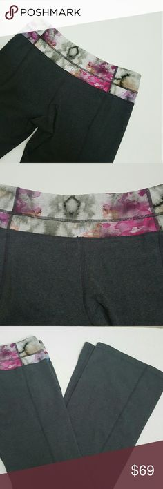 New! Lululemon yoga pants! Size 8 New! Lululemon yoga pants size 8! In perfect condition! Gray with watercolor print band. Hidden pocket in waist.  Bundle using the bundle feature and save! lululemon athletica Pants Leggings