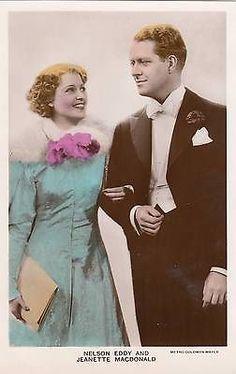 JEANETTE MACDONALD & NELSON EDDY 1930s Color Photo Postcard