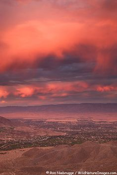Sunset over Palm Desert and Rancho Mirage in the Coachella Valley, California