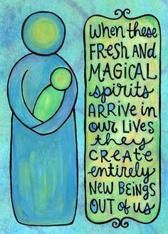 "my doodle ""fresh and magical spirits"". when my first child arrived, i didn't realize that i would be so profoundly changed that i'd have another new acquaintance to make: me. illustration and text © aimee myers dolich. artsyville.etsy.com."