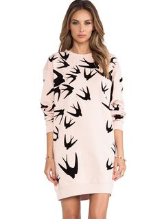 Pink Long Sleeve Swallow Print Sweatshirt Dress 16.99