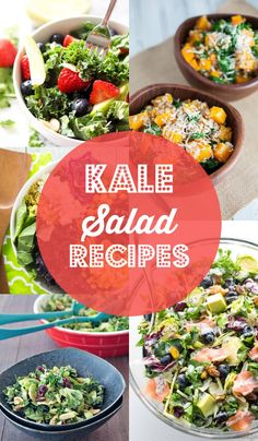 Five kale salad recipes with color coded free grocery shopping printable. Apple and Berry Chopped Kale Salad, Butternut Squash Kale Farro Salad, Feel Good Kale Salad, Lemony Brussels and Kale Chiffonade Salad, Salmon Kale Superfood Salad Recipe
