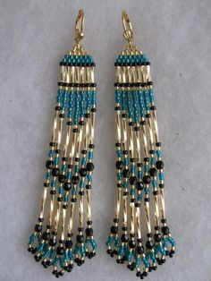 Seed Bead Native American Earrings - Gold Bugle/Deep Teal