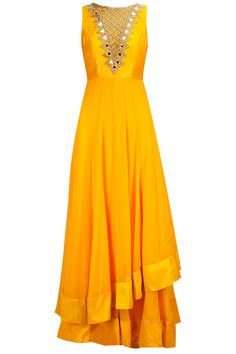 Arpita Mehta: Sunny yellow two-layered mirror work anarkali set available only at Pernia's Pop-Up Shop.