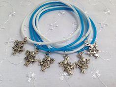 6 RABBITS BLUE AND WHITE BAND CHARM BRACELETS ALICE IN WONDERLAND PARTY BAG GIFT   eBay