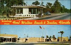 "Greetings from Fort Walton Beach & Destin - ""Top view: Gate of famous Eglin Air Force Base. Bottom view: Fort Walton Beach Auditorium, City Hall and Civic Center."""