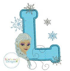 Frozen Elsa L applique embroidery design by Stitcheroo Designs