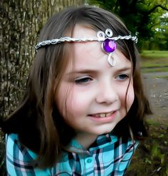 Bridal Tiara, Medieval Crown, Elven Headpiece, Silver Circlet, Purple Circlet, Renaissance Costume, Elven Cosplay, Wedding Tiara